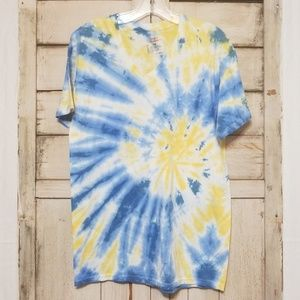 Vintage Blue Yellow V Neck Tie Dye Med